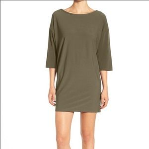 Nordstrom Leith Olive Green Shift Long Sleeve SZ L
